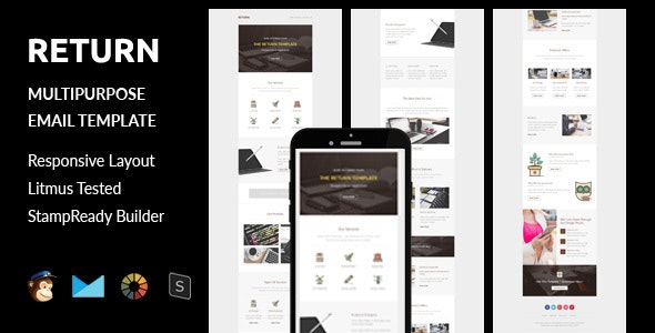 Return - Multipurpose Responsive Email Template + Stampready Builder - Email Templates Marketing