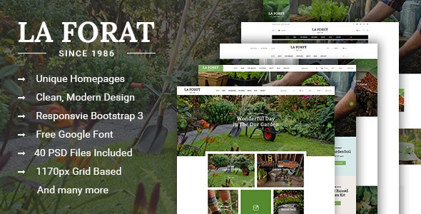 LaForat - Gardening & Landscaping Shop PSD Template - Retail Photoshop