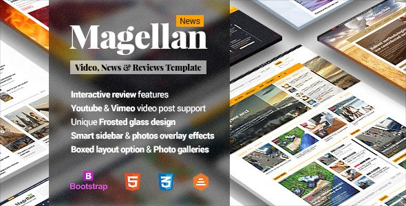 Magellan - Video News & Reviews Magazine HTML Template - Entertainment Site Templates