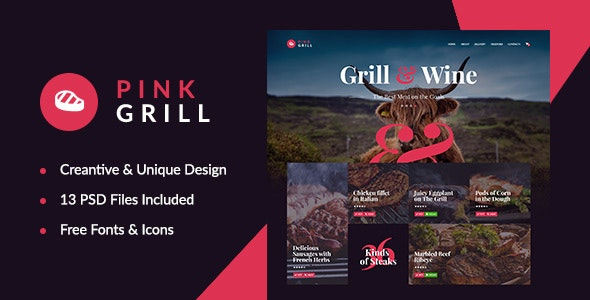 PinkGrill — Restaurant & Cafe PSD Template - Restaurants & Cafes Entertainment