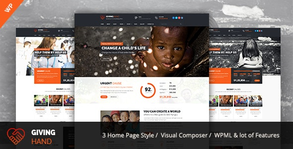 Giving hand - Charity/Fundraising WordPress Theme - Charity Nonprofit