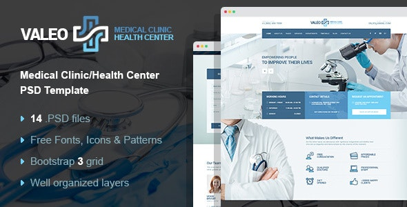 Valeo - health clinic & hospital PSD template - Business Corporate