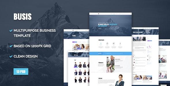 Busis — Clean Multipurpose Business & Corporate PSD Template - Business Corporate