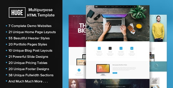 HUGE - Multipurpose HTML Template - Corporate Site Templates