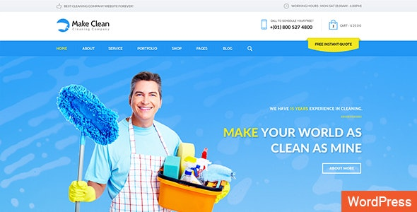 Make Clean - Cleaning Company WordPress Theme - Business Corporate