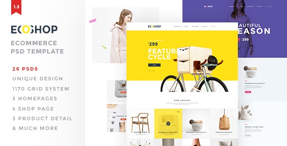 ECOSHOP - Multipurpose eCommerce PSD Template - Retail PSD Templates