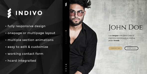 Indivo Onepage Personal Template - Creative Site Templates