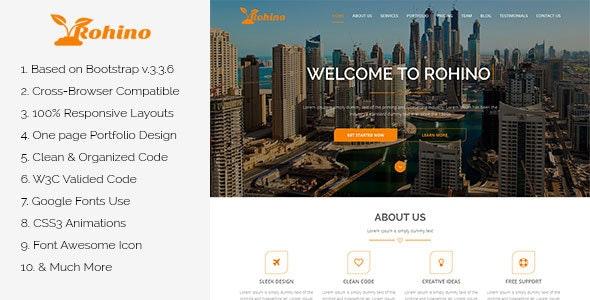 Rohino – One Page Portfolio HTML Template  - Portfolio Creative