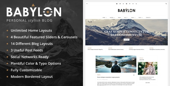 Babylon - Personal Stylish WP Blog - Personal Blog / Magazine