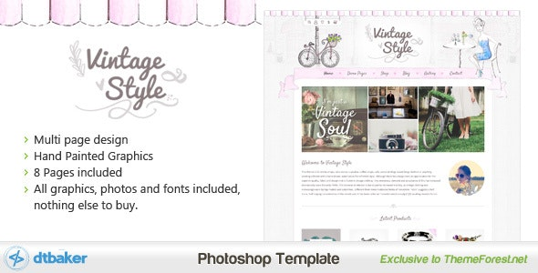 Vintage Style Shop and Blog PSD - Retail PSD Templates