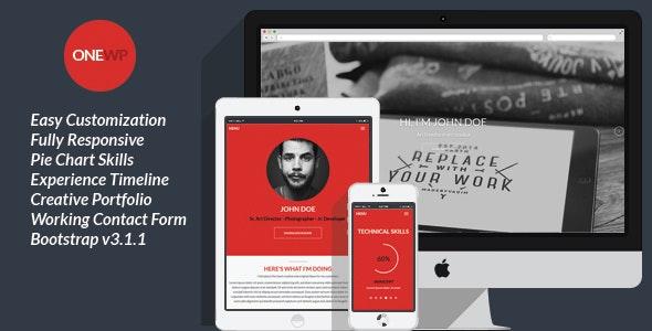 One Wordpress - Responsive, Personal Resume - Portfolio Creative