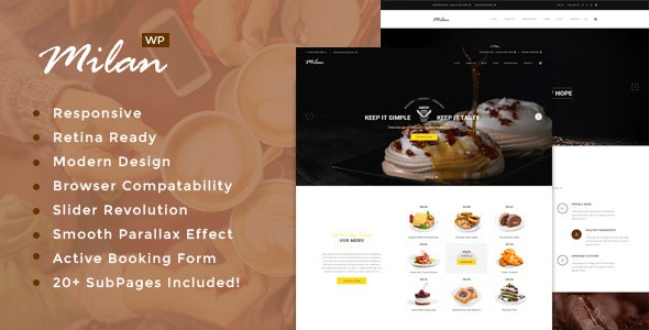 Milan : Restaurant WordPress theme - Restaurants & Cafes Entertainment