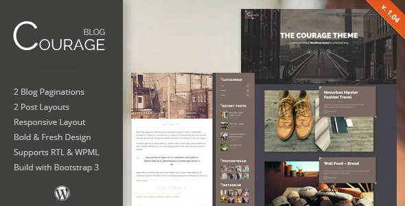 Courage - WordPress Creative Blog Theme - Personal Blog / Magazine