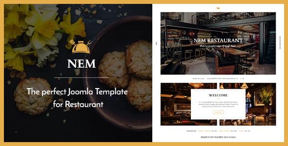 Joomla Restaurant Template - NEM - Restaurants & Cafes Entertainment