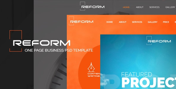 REFORM - Ultimate One Page Business PSD Template - Business Corporate