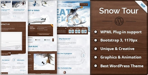 Snow Tour - Wordpress Winter Travel/Tour Theme - Travel Retail