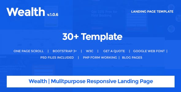 Wealth - Responsive Landing Page Templates