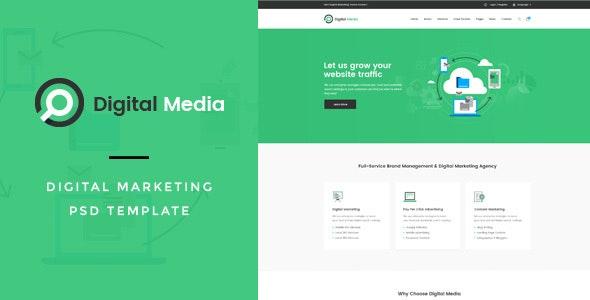Digital Media : Digital Marketing PSD Template - Marketing Corporate