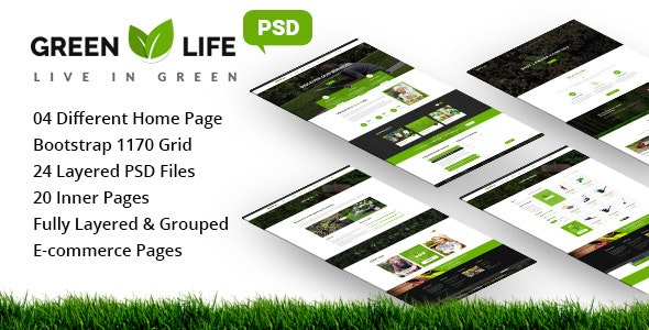 GreenLife - Gardening and Landscaping PSD Template - Business Corporate