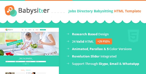 Babysitters - Jobs Directory Babysitting HTML Template by