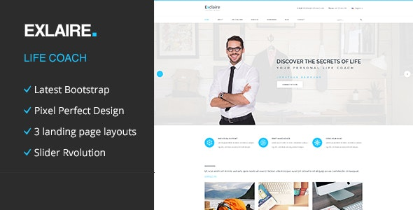 Exclaire - Personal Life Coach HTML template - Personal Site Templates