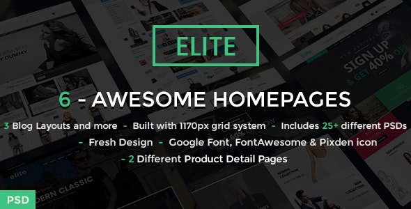 Elite - Ecommerce Shop PSD Template - Retail Photoshop