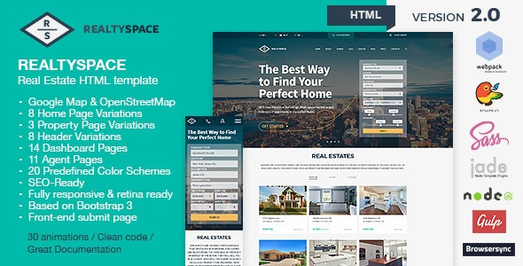 Realtyspace v2.1.2 - Real Estate HTML5 Template + Dashboard Included - Business Corporate