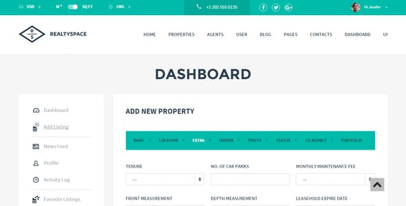 Realtyspace v2.1.2 - Real Estate HTML5 Template + Dashboard Included