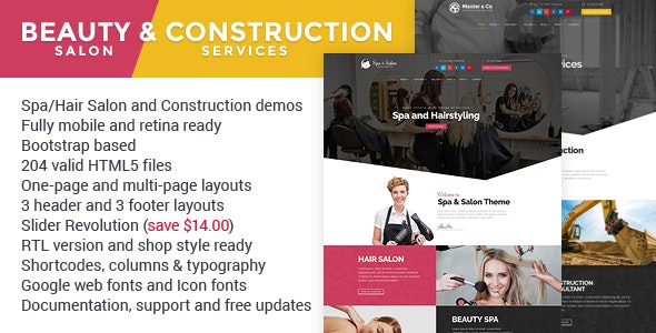 Beauty & Construction Services HTML Template - Business Corporate