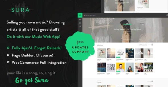 Sura - A Music Web App WordPress Theme - Music and Bands Entertainment
