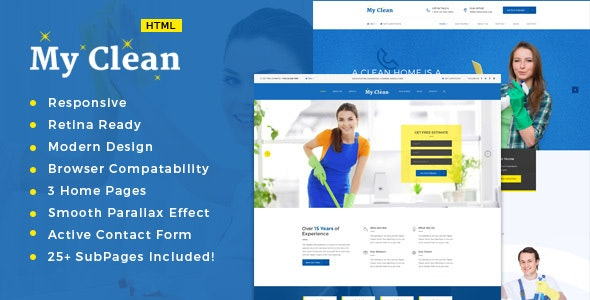 MyClean - Cleaning Company HTML5 Responsive Template - Business Corporate