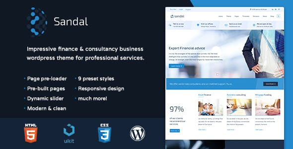 521d232d0d70a Sandal - Finance   Consultancy Business WordPress Theme - Business Corporate