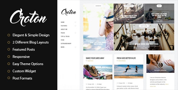 Croton - Simple And Clean WordPress Personal Blog Theme - Personal Blog / Magazine