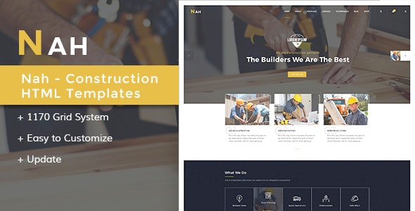 Nah Multipurpose Construction responsive HTML5 Template - Business Corporate