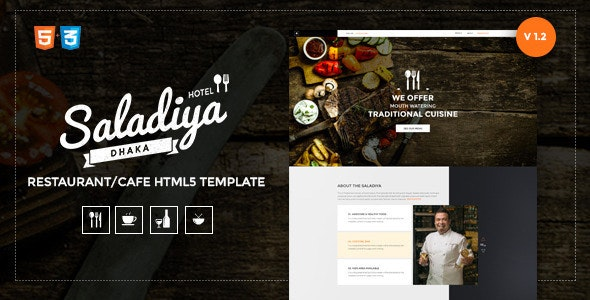 Saladiya Responsive Restaurant/Cafe Html5 Template  - Restaurants & Cafes Entertainment