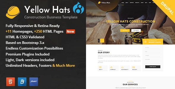 Yellow Hats - Construction And Building Drupal 8.7 Theme - Business Corporate
