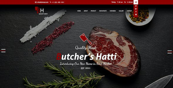 Online Meat Shop PSD Files and Photoshop Templates