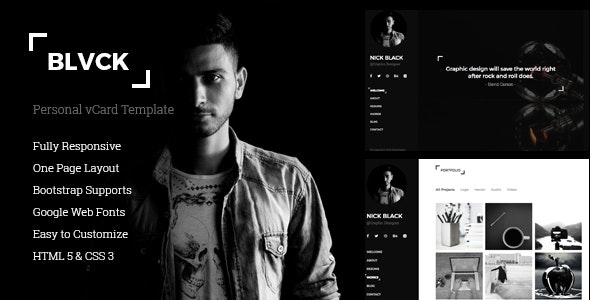 Blvck - Personal vCard & Resume Template - Virtual Business Card Personal