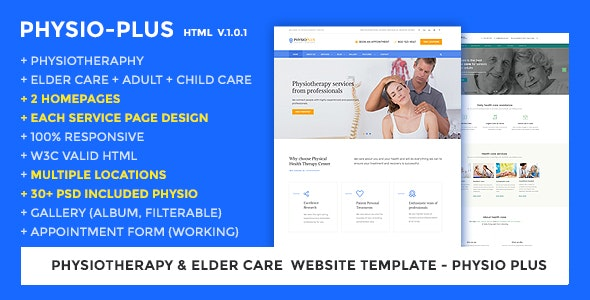 Physiotherapy & Elder Care Responsive Website Template | Physio Plus - Health & Beauty Retail