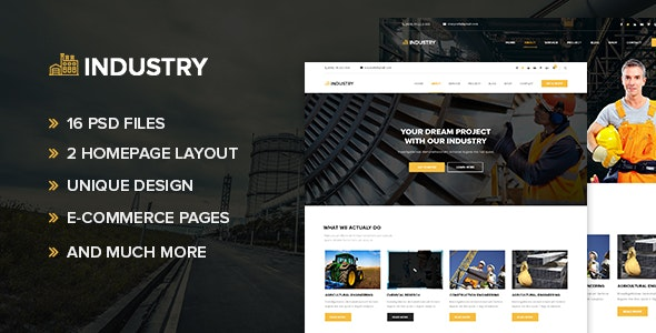 Industry – Industrial and Factory PSD Template - Corporate PSD Templates