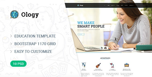Ology — Education | Courses | Classes PSD Template - Corporate Photoshop
