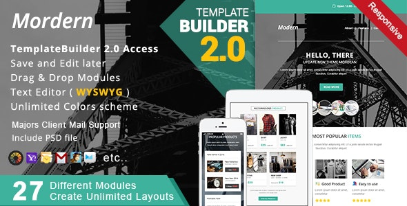 Modern - Responsive Email + MailBuild Online - Newsletters Email Templates