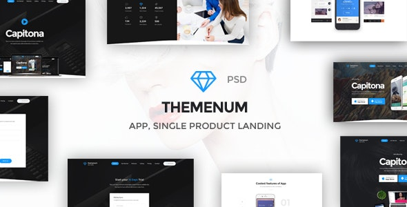 Themenum - Multi-Purpose App Showcase Responsive PSD Template - Technology Photoshop