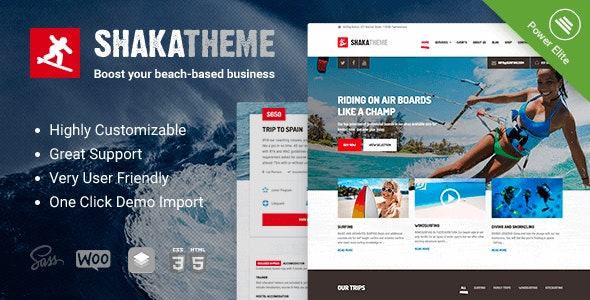 Shaka - A beach business WordPress theme for water sport and activity schools. Surf, kayak and more. - Travel Retail