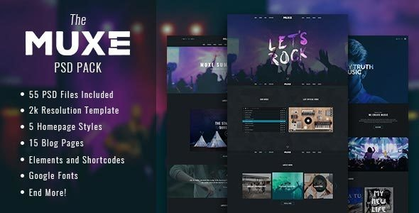 MUXE – Media oriented Musical PSD Template - Entertainment Photoshop