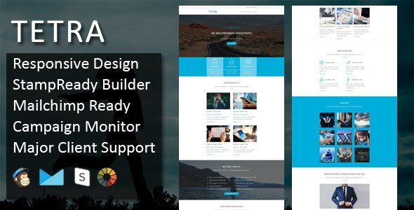 TETRA - Multipurpose Responsive Email Template + Stampready Builder - Email Templates Marketing