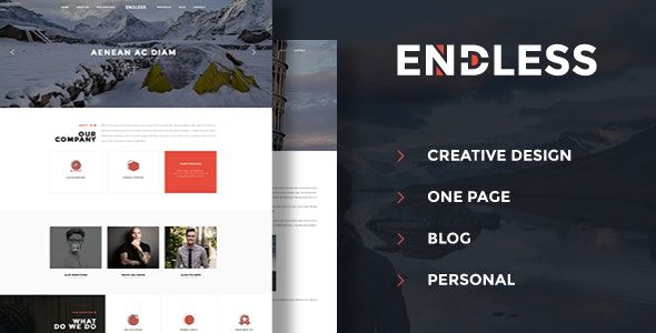 Endless - One Page Personal Blog PSD - Personal Photoshop