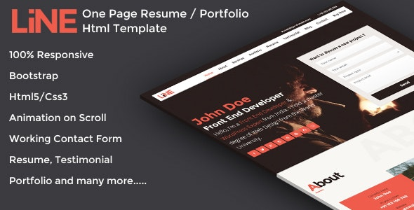 Line - One Page Resume / Portfolio Html Template - Resume / CV Specialty Pages