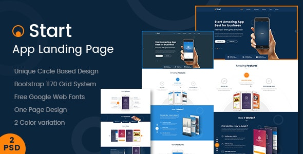 Start - App Landing Page PSD Template by Kalanidhithemes
