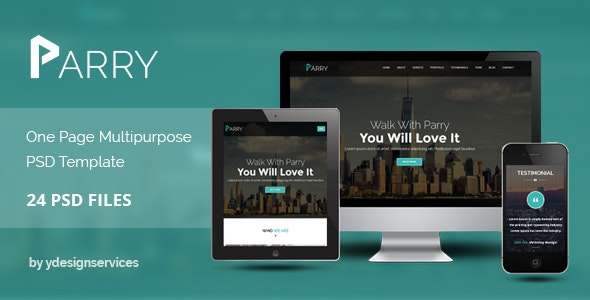 Parry - One Page Premium PSD Template - Photoshop UI Templates